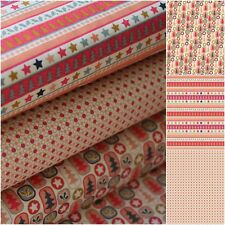Christmas Fabric 100% Cotton Nordic Stripe Pink Craft Quilting Patchwork Bunting