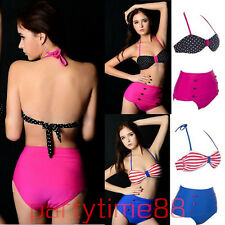 Vintage Women Hot Girl High Waisted Push Up Bandeau Bikini Set Sexy Swimwear