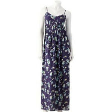 NWT~LAUREN CONRAD Floral Pintuck Pleated Maxi Dress~Gray/Blue/Green/Pink~Size 8