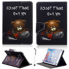 "Chainsaw Bear Universal Leather Case Cover Stand for 7"" ~ 7.9"" inch Tablet PC"