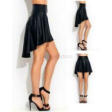 Hot Women Girl Sexy Slim High Waist Faux Leather Asymmetrical Mini Skirt M/L G52
