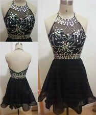 Black Short Prom Dresses 2015 Cheap Homecoming Dress Halter Cocktail Party Gowns