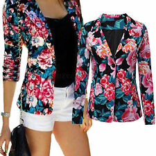 Women Long Sleeve Floral Blazer Suit Top Lapel Jacket Coat Slim Cardigan Outwear