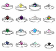 Sterling Silver .925 Irish Heart Shaped CZ Claddagh Ring Sizes 5 6 7 8 9 10