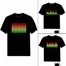 Black LED Light T-Shirt Fashion T-Shirt Music T-Shirt Sound Activated EL