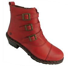 Neosens Granada Women's Tortosi Red Side Zip Up Leather Ankle Boots New