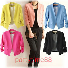 Womens Fashion Korea Candy Color 3/4 sleeve Solid Slim Suit Blazer Coat Jacket