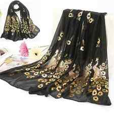 Sexy Women Gold Peacock Flower Print Long Scarf Wrap Shawl Scarves Stole FT5 Hot