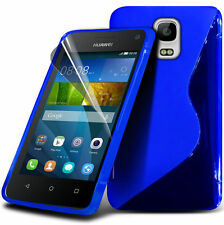 S Line Wave Gel Skin Case Cover & Screen Guard For Huawei Y3 / Ascend Y3