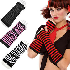 Punk Women Stretchy Rave Costume Fingerless Long Gloves Striped Arm Warmers