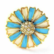 gold filled womens vintage ring size 6 7 8 9 huge flower CZ rings free shipping