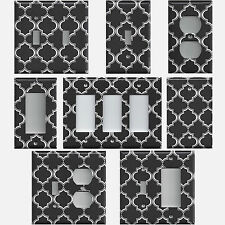 Black and White Quatrefoil Lattice Light Switch Covers & Outlet Covers Hand Made