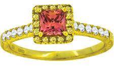 Ladies .925 Silver Grapefruit Couture Simulated Diamond Ring in Yellow Finish