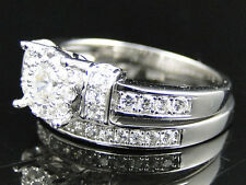 2Pc Ladies .925 Silver Gypsy Lab Diamond Bridal Ring Set in White Gold Finish