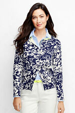 Lands End Women's Supima Colorblock Cardigan Sweater Ivory Graphic Floral New