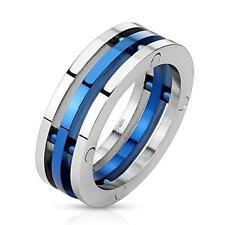 Stainless Steel Unisex Ring 3 Ring Blue and Silver New JEWELRY from COOLBODY
