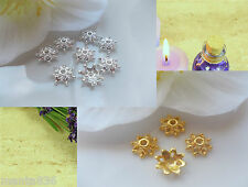 100 Cap beads 10 mm Bead caps End caps Spacer Gold Silver Mix Metal DIY