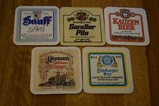 Set of 5 Vintage German Beer Coasters Hauff Brau Leinburger Kauzen Bier Kitzmann
