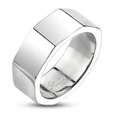 COOLBODY Ring Unisex Octagonial Stainless Steel Shiny W:8mm Opt. Size 9-13 New
