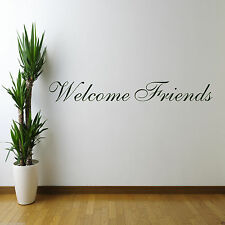 WELCOME FRIENDS Wall Art Sticker Kitchen Quote Decal Mural Stencil Transfer
