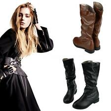 Women Comfy Slouch Boots Round Toe Casual Winter PU Leather Mid Calf Shoes CV1E