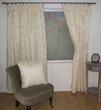 JACQUARD FLORAL DAMASK CREAM LINED PENCIL PLEAT CURTAINS 10 SIZES