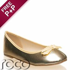 Girls Gold Ballet Shoes, Girls Flat Shoes, Flower Girl Shoes, Bridesmaid Shoes