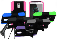 For Motorola Turbo 2 Duo Layer Stand Hybrid Shell Cover Case CAR CHARGER STYLUS