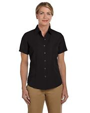Harriton Button Down Camp Shirt Women's Short Sleeve Barbados Solid Casual M560W