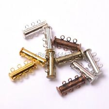 10Sets GOLD & SILVER PLATED,BRONZE,COPPER 3 Strands Magnetic Slide Clasps 20X10M