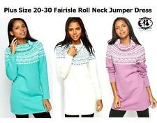 LADIES PLUS SIZE 18-30 FAIRISLE COWL NECK KNITTED JUMPER TUNIC DRESS SWEATER TOP