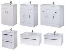 High Gloss White Minimalist Bathroom Vanity Cabinet Unit, Basin Sink & Tap