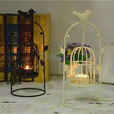 White/Black Birdcage Lantern Candle Holder Stand Hook Candlestick Wedding Decor