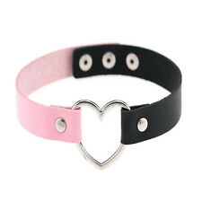 Collar Punk Goth Heart Cross Choker Necklace Ring Harajuku Leather Neck Ring d