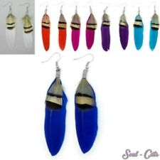 Feather Earrings Hippie feather earrings pink blue turquoise purple white