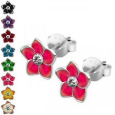 1 Pair cute ear studs Flowers flowers real 925 sterling silver yellow pink blue