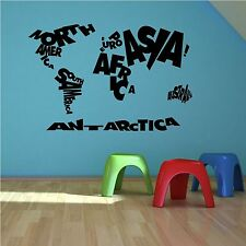 Childs Kids World Map Bedroom Quote Learning Wall Sticker Art Transfer Decal