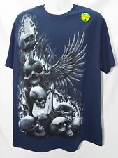 NEW- SKULLS WINGED GUITAR HARDCORE T-SHIRT Men's ROCK TATTOO ART  6696
