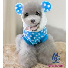 Pet Dog Flannel Clothes Apparel Coat Hoodie Pullover w/ Dots & Ears Blue S M L