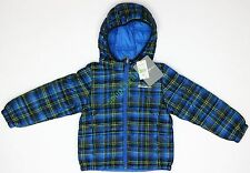 New Eddie Bauer Boys Plaid Quilted Hooded Puffer Jacket NWT - Blue Size S XL