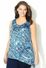 AVENUE Blue Palm Print Asymmetrical Sleeveless Tunic Blouse ~ Slinky Tank