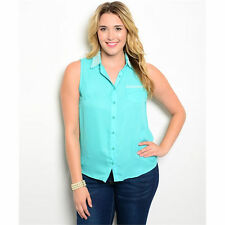 Women's Top Plus Size Mint with Pearl Detail Zenobia US Brand