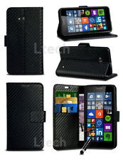 Carbon Fibre Style Wallet PU Leather Case Cover for Various Phones & Mini Pen