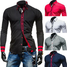 New Luxury Stylish Casual Mens Slim Fit Dress Shirts Tops Long Sleeve Shirts Top