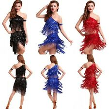 Womens Chacha Jazz Latin Ballet Dance Costume Girl Party Dress Dancing Top Skirt