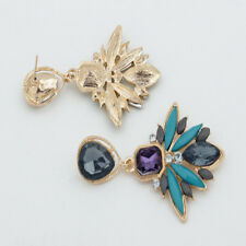 HQ Design Hot Geometry Crystal Leaf Drop Flower Statement Dangle Stud Earring TB