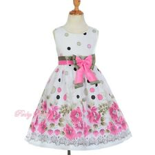 Cotton White Pink Flowers & Dot Pattern Girl Empire Summer Dress Size 2-6y SD011
