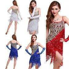 Elegant Sequins Fringes Skirt Women's Latin Tango Ballroom Salsa Dance Dress NEW
