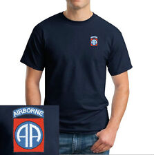 82nd Airborne Logo EMBROIDERED Navy Blue T Shirt *New* US Military