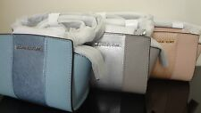 NWT Michael Kors Mini Selma Metallic Center Stripe Leather Messenger Bag~Great!